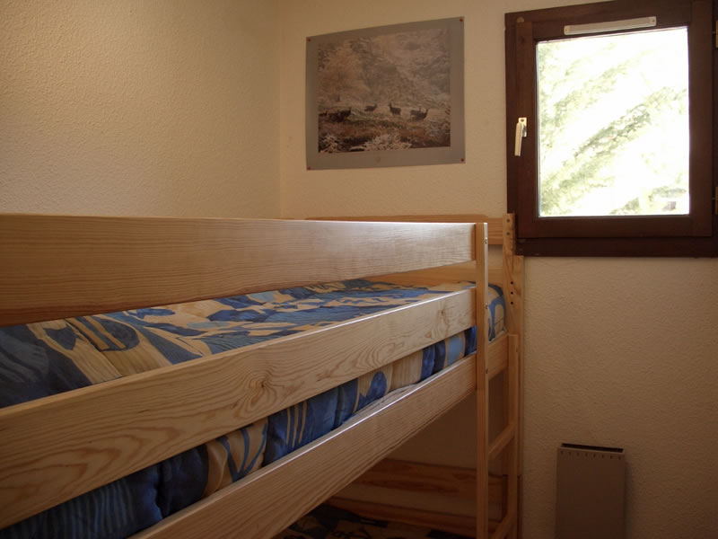 Bedroom 2 has a full size bunk bed